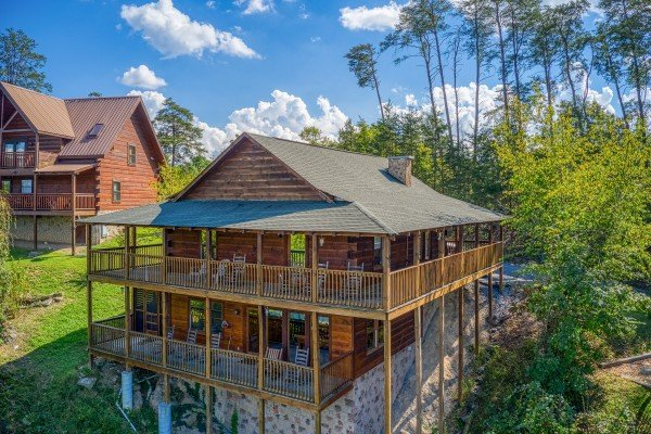 Exterior drone view at Bear Country, a 3-bedroom cabin rental located in Pigeon Forge