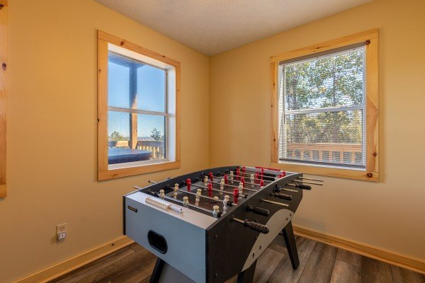 Foosball table at Le Bear Chalet, a 7 bedroom cabin rental located in Gatlinburg