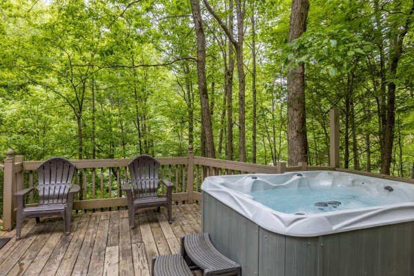 Hot tub on the deck at Heavenly Hideaway, a 2-bedroom cabin rental located in Gatlinburg