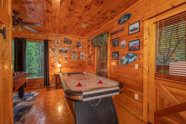 Air hockey table at Firefly Ridge, a 2 bedroom cabin rental located in Pigeon Forge