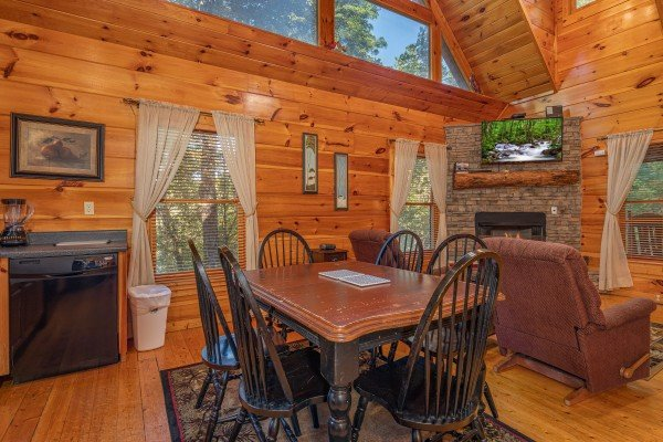 Dining table for six at Firefly Ridge, a 2 bedroom cabin rental located in Pigeon Forge