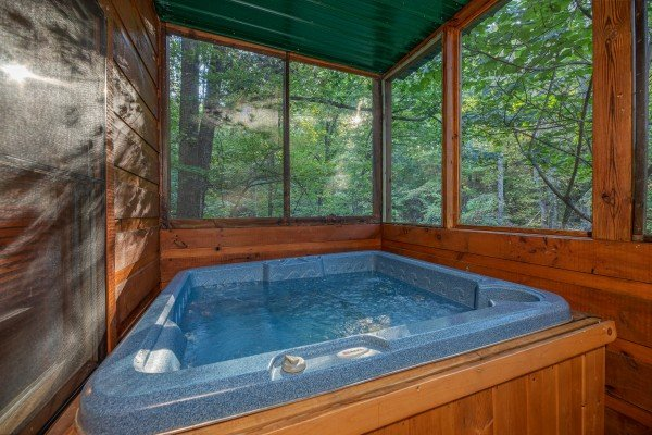 Hot tub on a screened in porch at Firefly Ridge, a 2 bedroom cabin rental located in Pigeon Forge