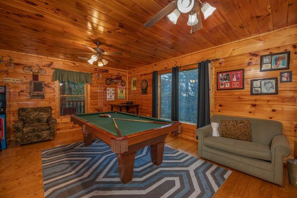Pool table at Firefly Ridge, a 2 bedroom cabin rental located in Pigeon Forge