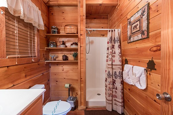 Bathroom with a shower stall at Bear Hug Hideaway, a 1-bedroom cabin rental located in Pigeon Forge