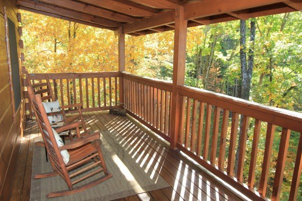 A wooded view from the covered deck at Bear Hug Hideaway, a 1-bedroom cabin rental located in Pigeon Forge
