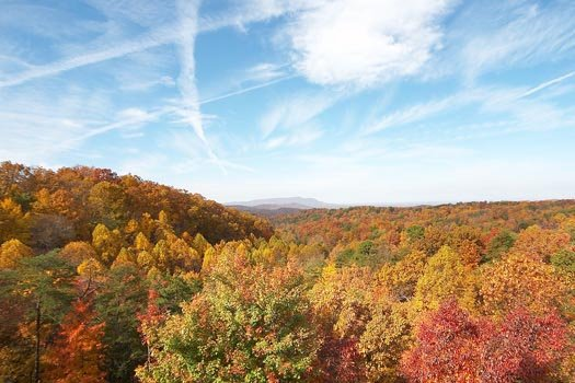 Fall foliage of the Smoky Mountains seen from Big Bear Lodge, a 7-bedroom cabin rental located in Gatlinburg