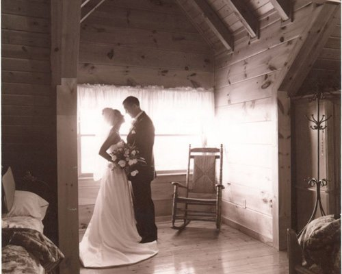 Romantic setting for newlyweds at Big Bear Lodge, a 7-bedroom cabin rental located in Gatlinburg