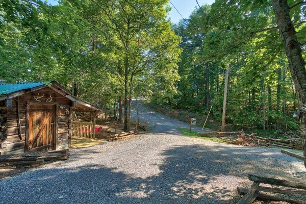 Looking out to the road at bearfoot adventure a 2 bedroom cabin rental located in gatlinburg
