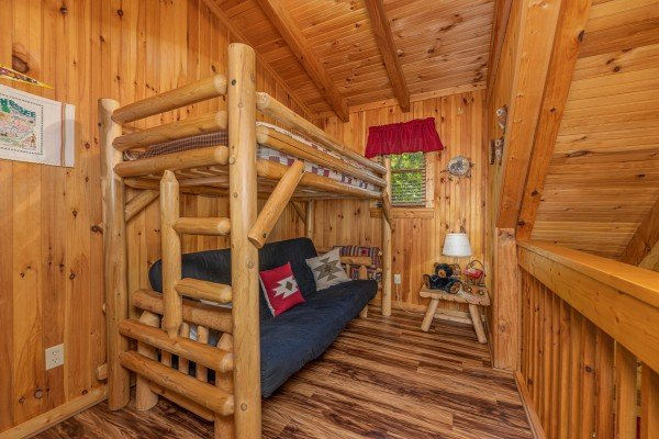 Bunk beds at Bearfoot Adventure, a 2 bedroom cabin rental located in Gatlinburg