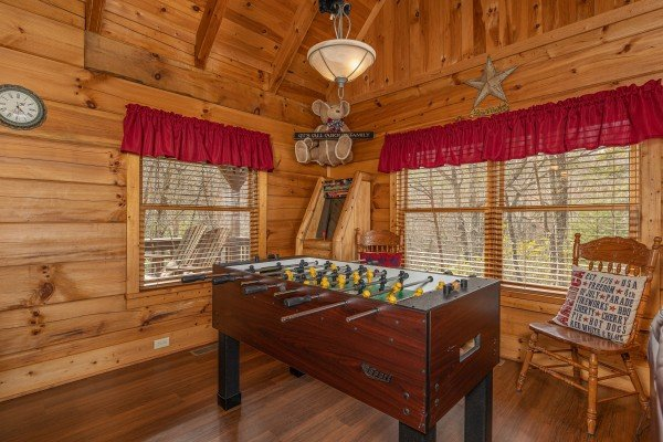 Foosball table at Bearfoot Adventure, a Gatlinburg Cabin rental