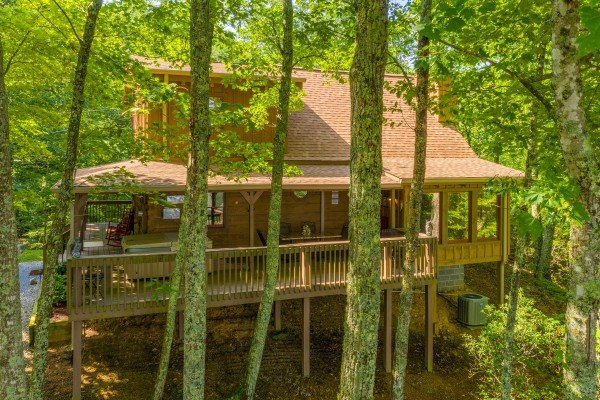 Rear exterior drone view at Bearfoot Adventure, a 2 bedroom cabin rental located in Gatlinburg