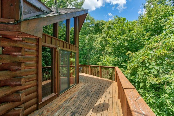 woods view on the deck at angel's place a 2 bedroom cabin rental located in pigeon forge