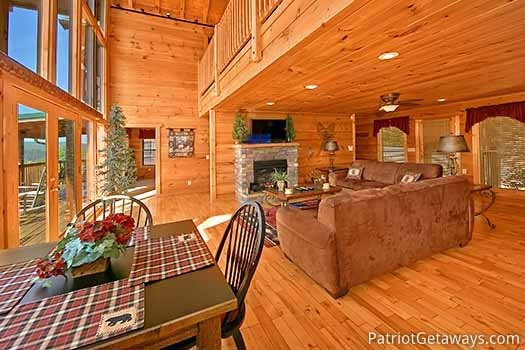 Living room grand entrance at Elk Horn Lodge, a 5-bedroom cabin rental located in Gatlinburg