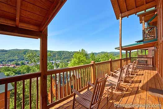 Smoky mountain views from the deck at Elk Horn Lodge, a 5-bedroom cabin rental located in Gatlinburg