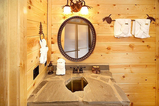 custom stone vanity at incredible! a 6 bedroom cabin rental located in gatlinburg