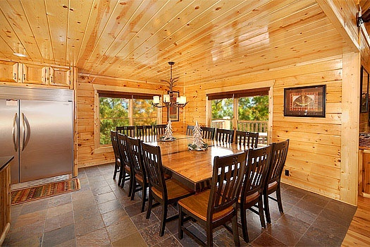 dining table for twelve at incredible! a 6 bedroom cabin rental located in gatlinburg