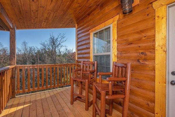 High deck chairs at Allstar Pool Lodge, a 4 bedroom cabin rental located in Pigeon Forge