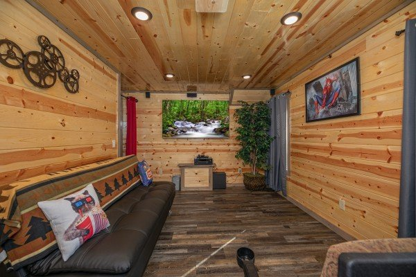 Home theater with seats at Allstar Pool Lodge, a 4 bedroom cabin rental located in Pigeon Forge