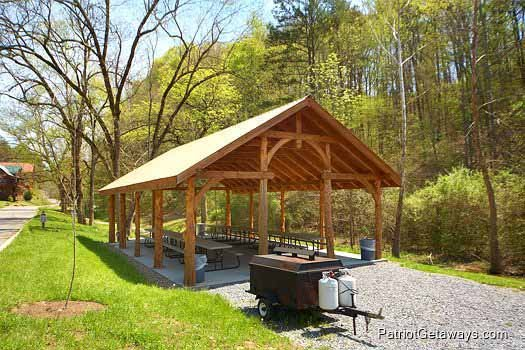 Picnic pavilion access for guests at Allstar Pool Lodge, a 4 bedroom cabin rental located in Pigeon Forge