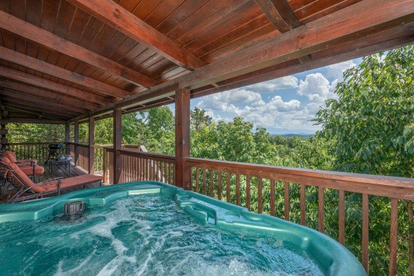 Mountain view from the hot tub at Top of the Way, a 2 bedroom cabin rental located in Pigeon Forge