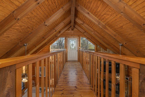 Catwalk on the loft level at Eagle Watch Den, a 5 bedroom cabin rental located in Pigeon Forge
