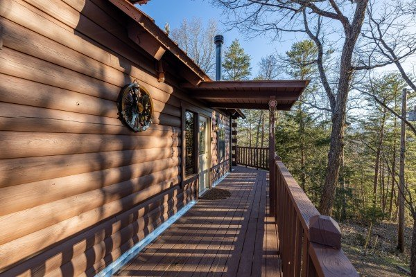 Deck at Eagle Watch Den, a 5 bedroom cabin rental located in Pigeon Forge