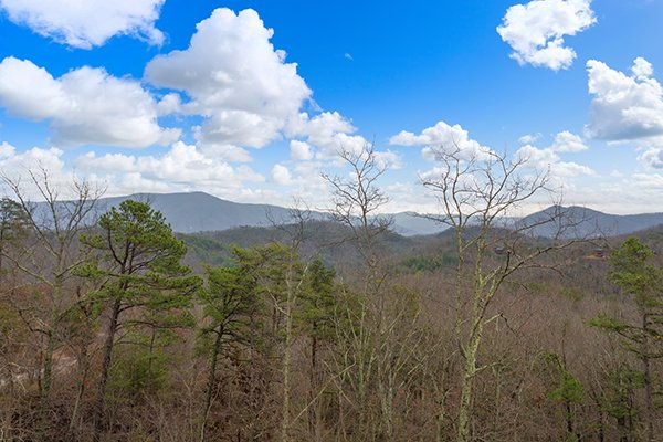 Mountain views during the winter months at Grand Timber Lodge, a 5-bedroom cabin rental located in Pigeon Forge