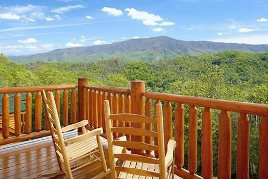 Rockers overlooking the magical Smoky Mountains at Grand Timber Lodge, a 5-bedroom cabin rental located in Pigeon Forge