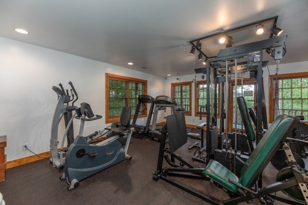 Exercise room for guests at Grand Timber Lodge, a 5 bedroom cabin rental located in Pigeon Forge