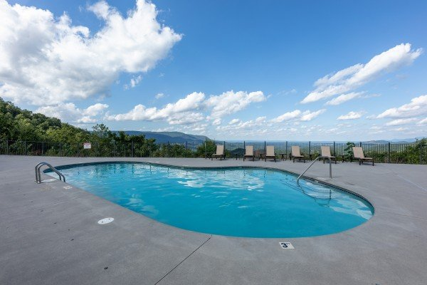 Pool access for guests at Grand Timber Lodge, a 5 bedroom cabin rental located in Pigeon Forge