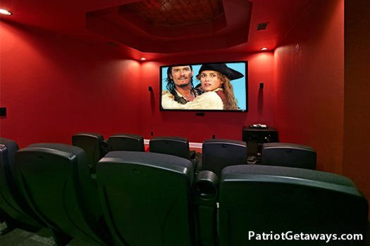 Home theater at Grande Mountain Lodge, a 5-bedroom cabin rental located in Pigeon Forge