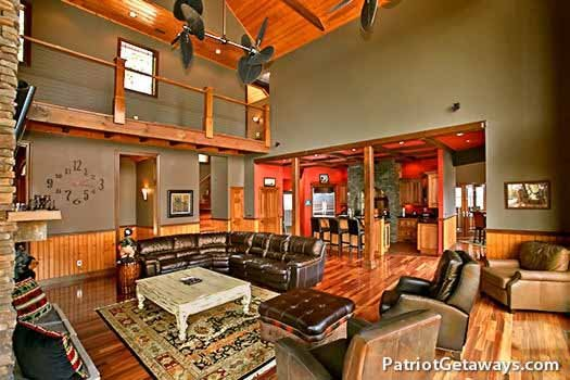 luxury seating in the living room at grande mountain lodge a 5 bedroom cabin rental located in pigeon forge