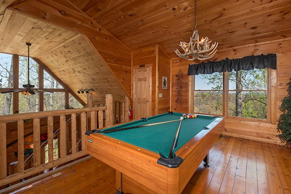 Pool table in the game loft at Lumber Jack Lodge, a 1 bedroom cabin rental located in Gatlinburg