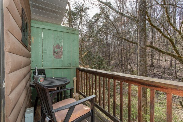 Wooded view from the deck at Bear Mountain Hollow, a 1 bedroom cabin rental located in Pigeon Forge