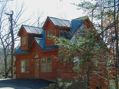 Two story log cabin rental named Deerly Beloved, a 1-bedroom cabin rental located in Gatlinburg