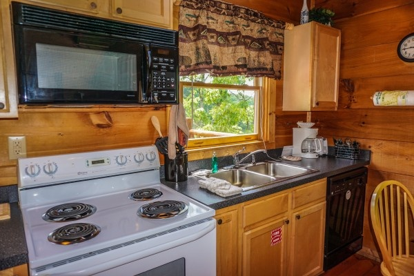 kitchen stove with microwave above at deerly beloved a 1 bedroom cabin rental located in gatlinburg