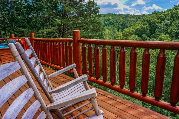 Mountain views from the deck at Deerly Beloved, a 1-bedroom cabin rental located in Gatlinburg