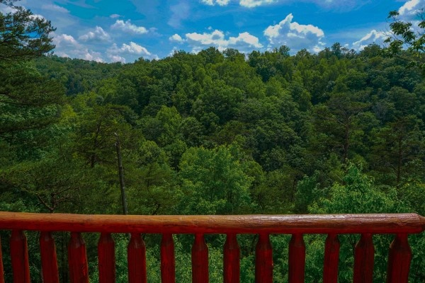 view from the deck at deerly beloved a 1 bedroom cabin rental located in gatlinburg