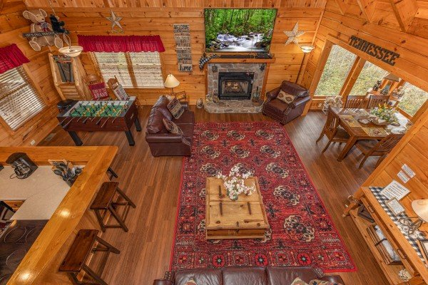 Aerial living room view at Bearfoot Adventure, a Gatlinburg Cabin rental