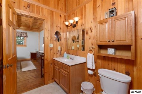 Upstairs bathroom vanity at bearfoot adventure a 2 bedroom cabin rental located in gatlinburg