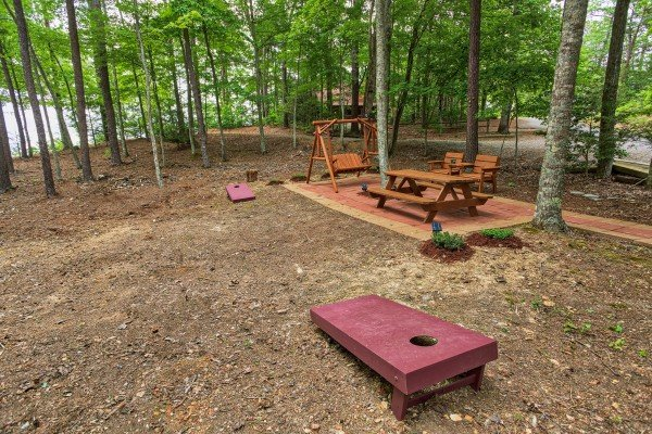 Beanbag toss game at bearfoot adventure a 2 bedroom cabin rental located in gatlinburg