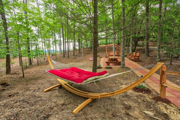 Hammock in the yard at bearfoot adventure a 2 bedroom cabin rental located in gatlinburg