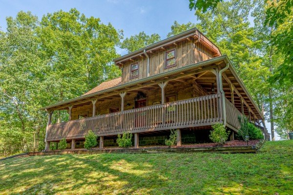 Exterior of the cabin at Bearfoot Adventure, a 2 bedroom cabin rental located in Gatlinburg