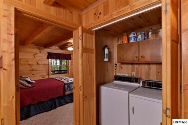 Washer and dryer on the first floor at bearfoot adventure a 2 bedroom cabin rental located in gatlinburg