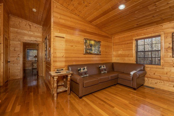 Seconal sofa in the game room at 3 Crazy Cubs, a 5 bedroom cabin rental located in Pigeon Forge
