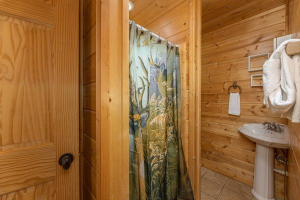Bathroom with a shower at 3 Crazy Cubs, a 5 bedroom cabin rental located in Pigeon Forge