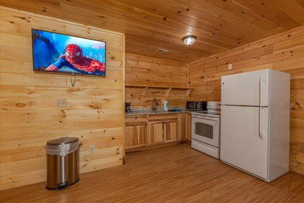 Lower level kitchen with white appliances and a TV at 3 Crazy Cubs, a 5 bedroom cabin rental located in Pigeon Forge