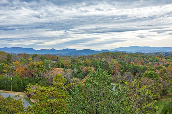 Fall colors and mountain views at Eagle's Nest, a 2-bedroom cabin rental located in Sevierville