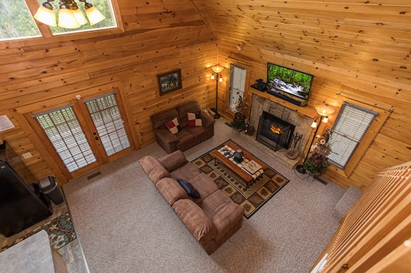 Living room viewed from above at Eagle's Nest, a 2-bedroom cabin rental located in Sevierville