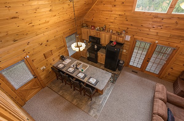 Overhead view of the kitchen at Eagle's Nest, a 2-bedroom cabin rental located in Sevierville